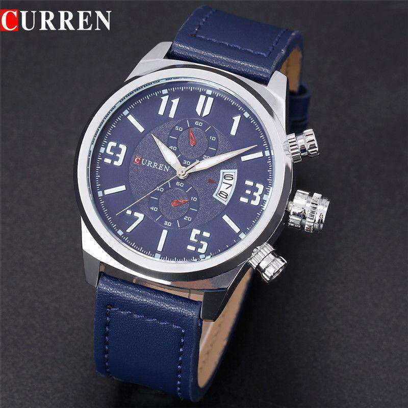 Curren 8200D-2-Blue/Silver/Blue Leather Strap Watch