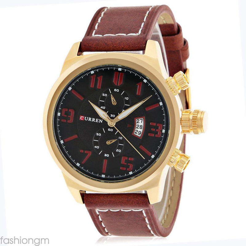 Curren 8200D-5-Brown/Gold/Brown Leather Strap Watch