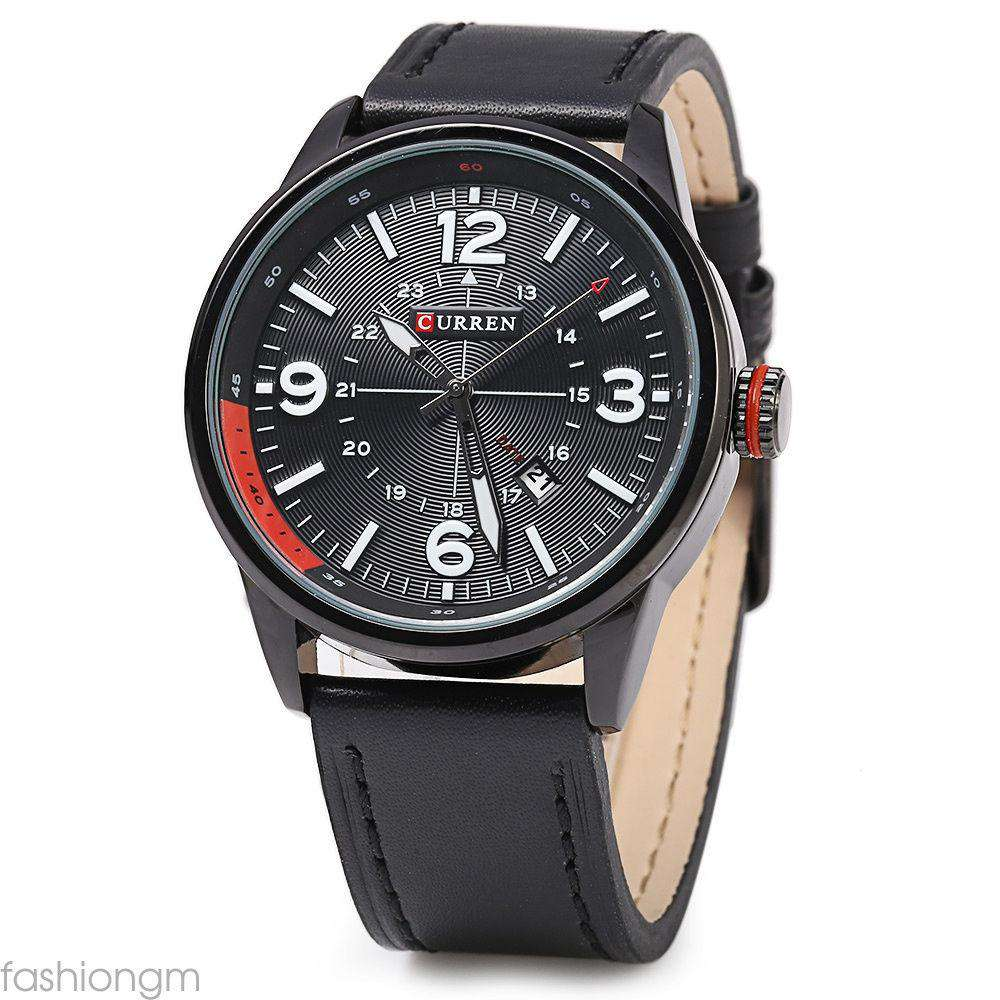 Curren 8215D-5-Black/Black/Black Leather Strap Watch