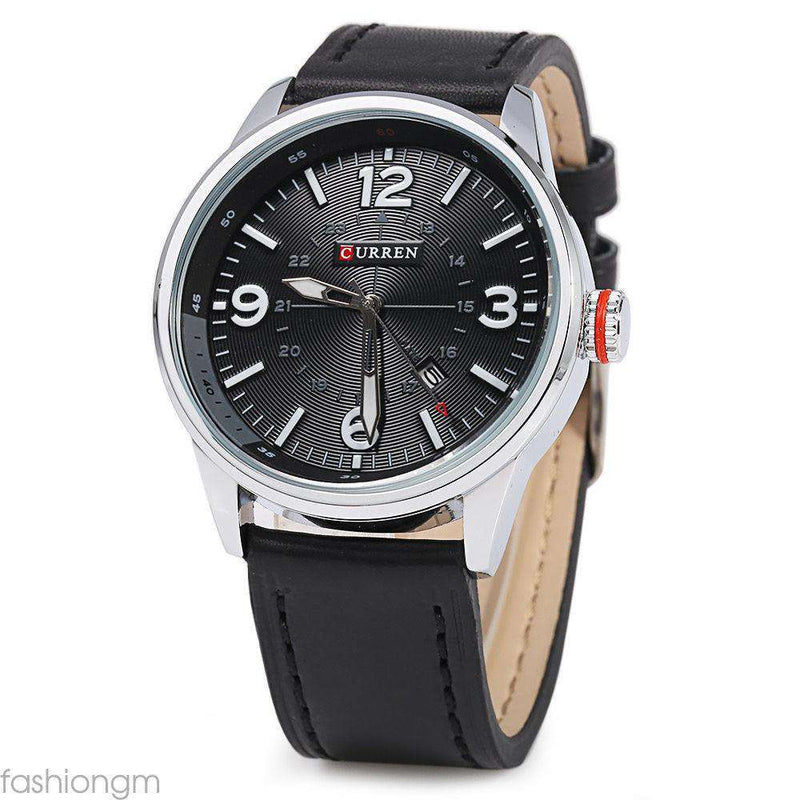 Curren 8215D-4-Black/Silver/Black Leather Strap Watch