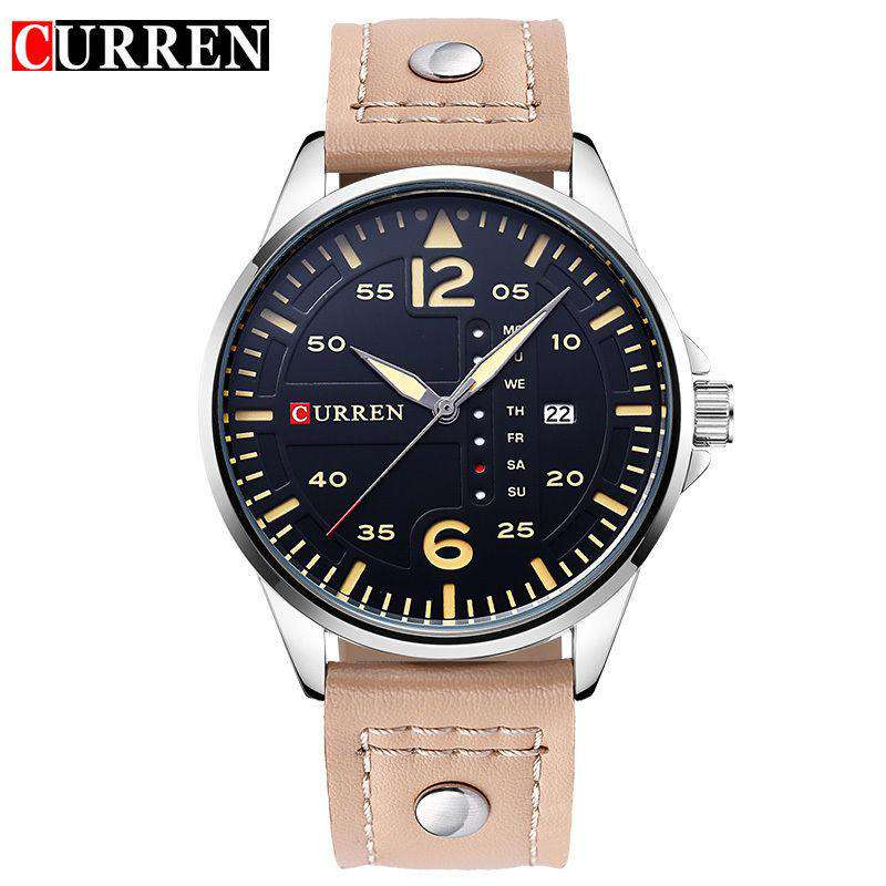 Curren 8224D-3-Brown/Silver/Black Leather Strap Watch