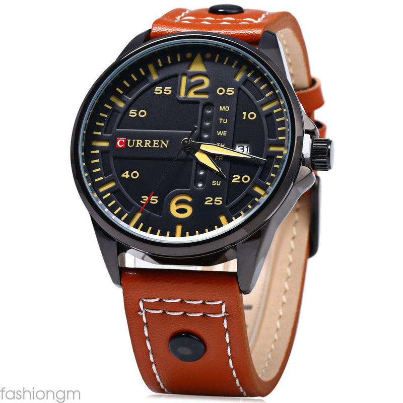 Curren 8224D-4-Brown/Black/Black Leather Strap Watch