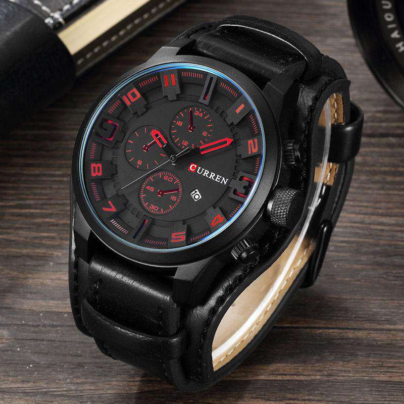 Curren 8225D-5-Black/Black/Red Leather Strap Watch