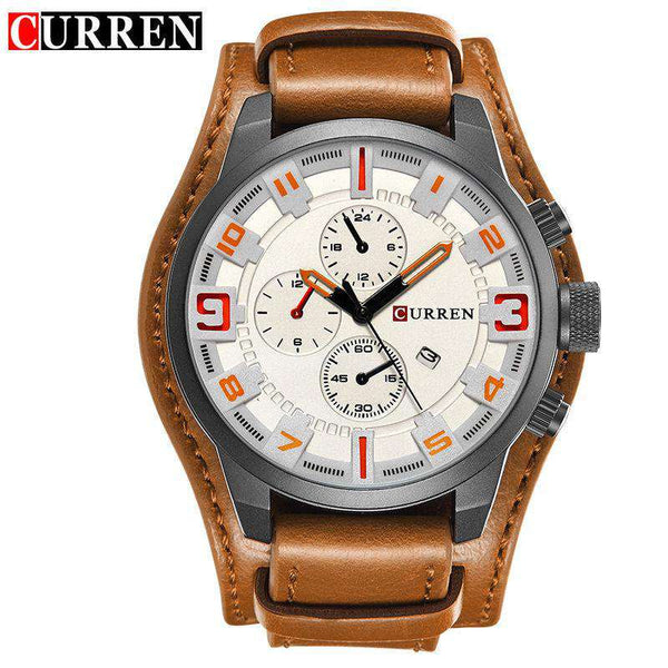 Curren 8225D-3-Brown/Black/Orange Leather Strap Watch