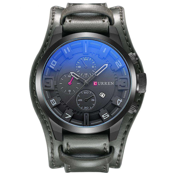 Curren 8225D-4-Grey/Black/Black Leather Strap Watch