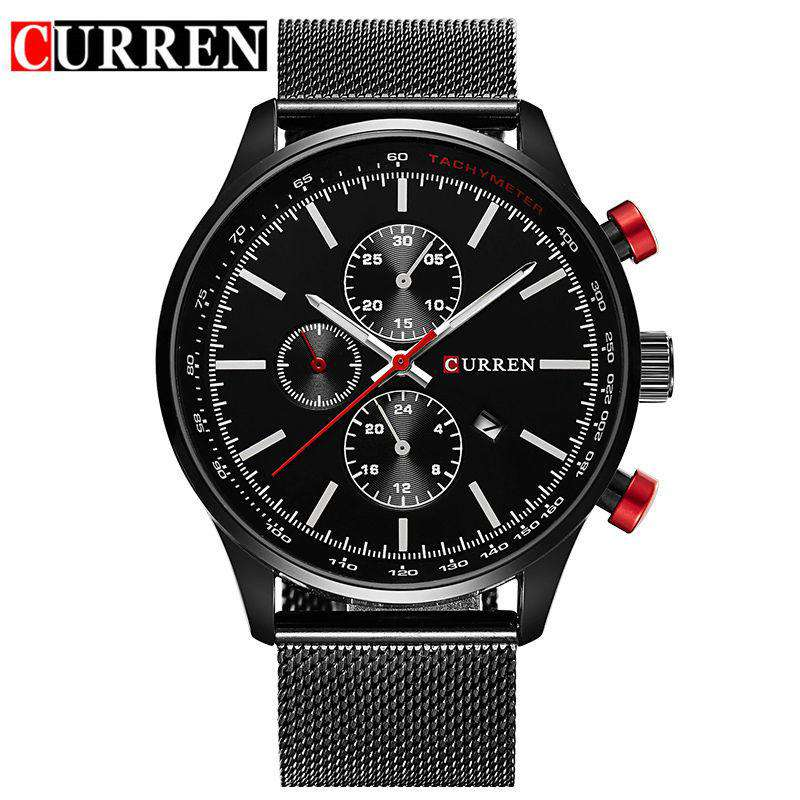 Curren 8227D-1-Black/Black Stainless Steel Strap Watch