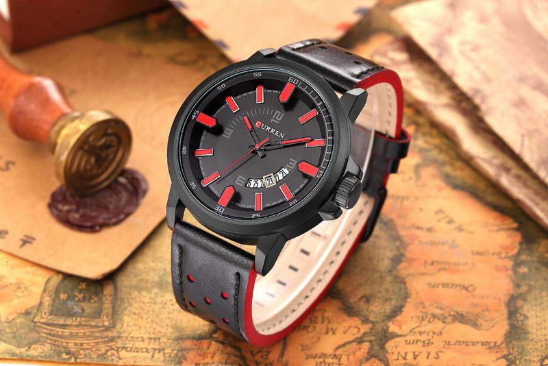 Curren 8228D-3-Black/Black/Red Leather Strap Watch