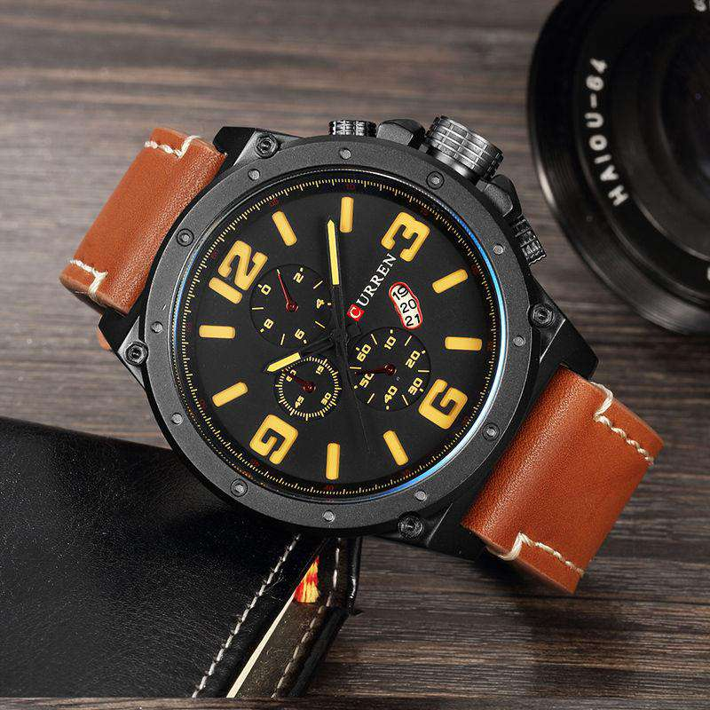 Curren 8230D-4-Brown/Black/Yellow Leather Strap Watch