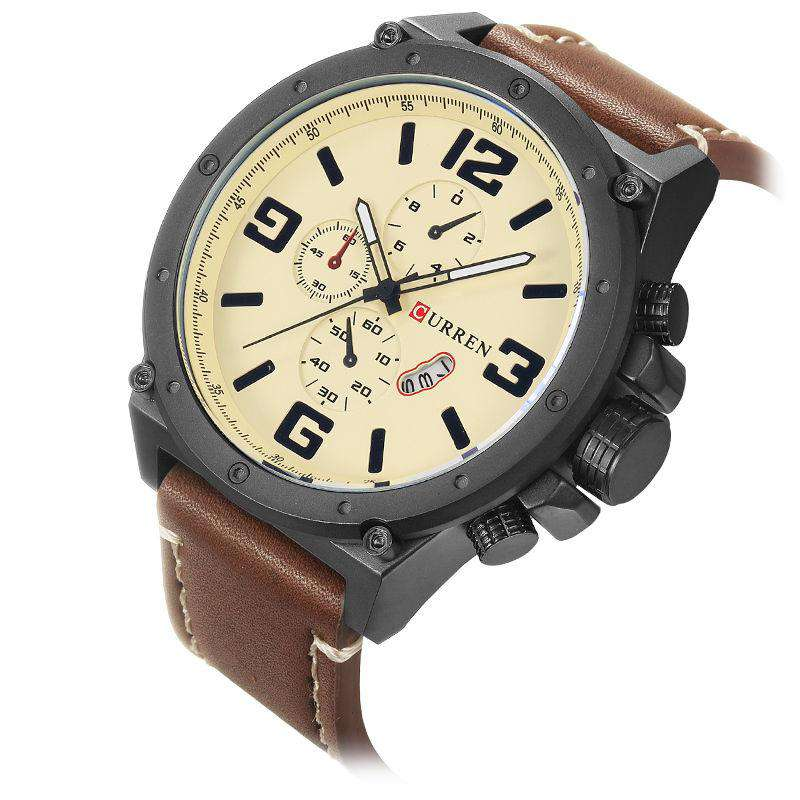 Curren 8230D-1-Brown/Black/Brown Leather Strap Watch