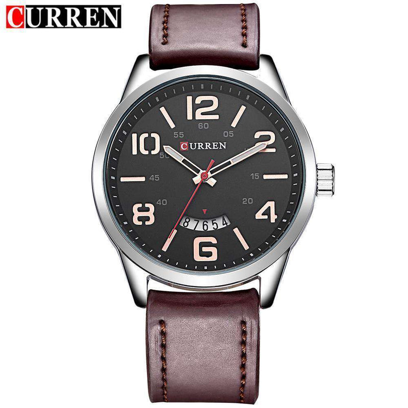 Curren 8236D-4-Brown/Silver/Brown Leather Strap Watch