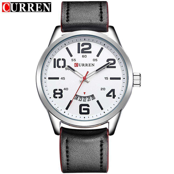 Curren 8236D-3-Black/Silver/White Leather Strap Watch