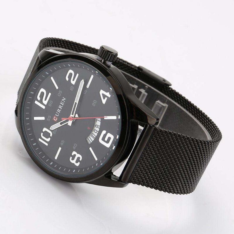 Curren 8236D-2-Black/Black/White Stainless Steel Strap Watch
