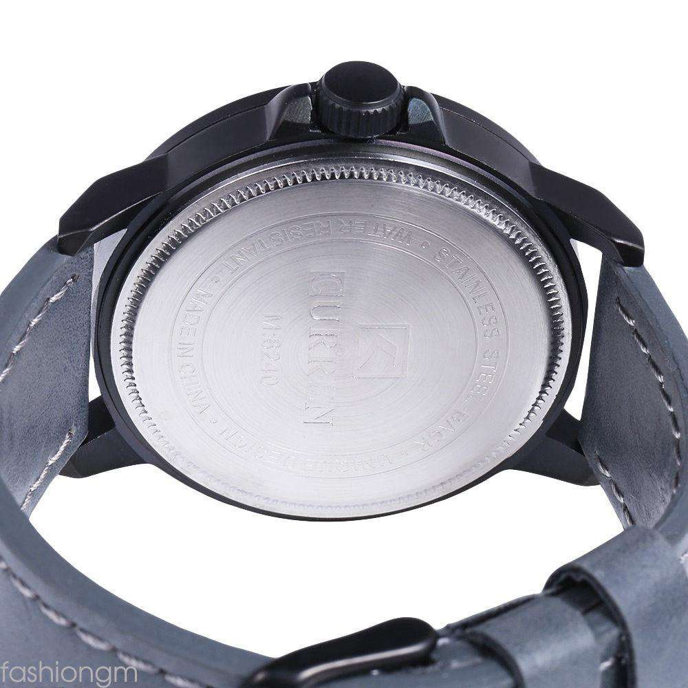 Curren 8240D-2-Grey/Black/Grey Leather Strap Watch