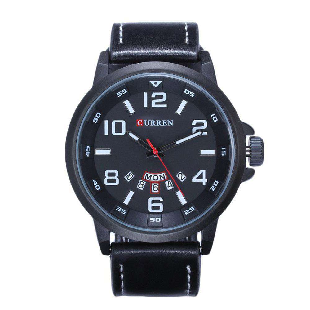 Curren 8240D-1-Black/Black/White Leather Strap Watch
