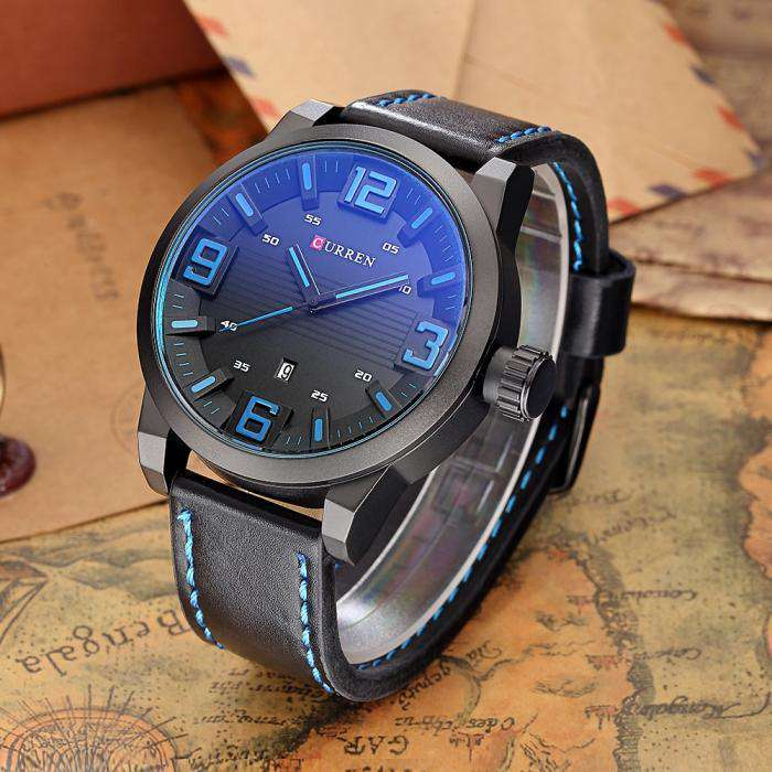 Curren 8241D-1-Black/Black/Blue Leather Strap Watch