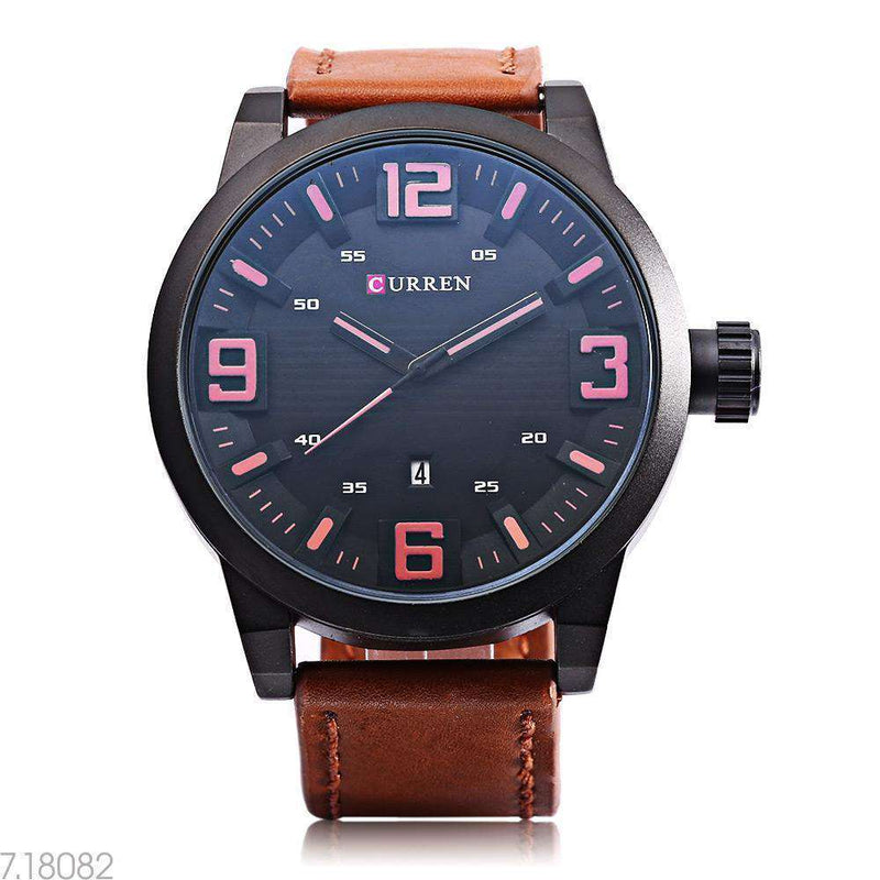 Curren 8241D-2-Brown/Black/Black Leather Strap Watch