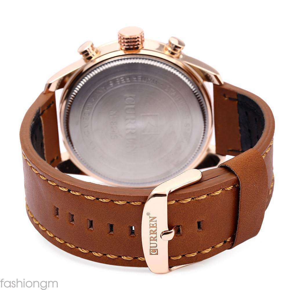 Curren 8243D-2-Brown/Gold/Brown Leather Strap Watch