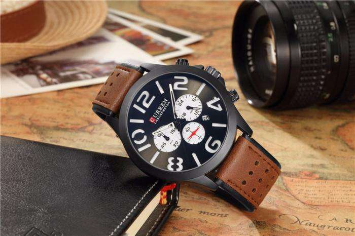 Curren 8244D-2-Brown/Black/White Leather Strap Watch