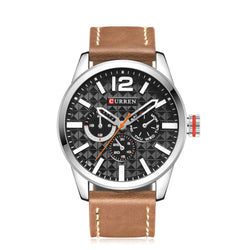 Curren 8247-2-Brown/Silver/Black Leather Strap Watch