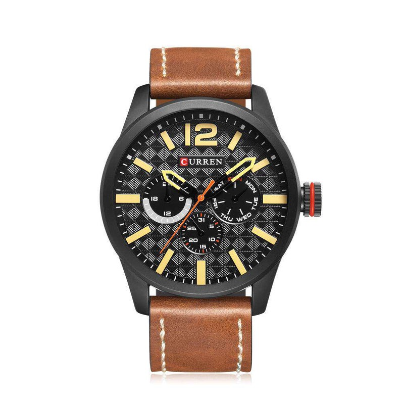 Curren 8247-4-Brown/Black/Yellow Leather Strap Watch