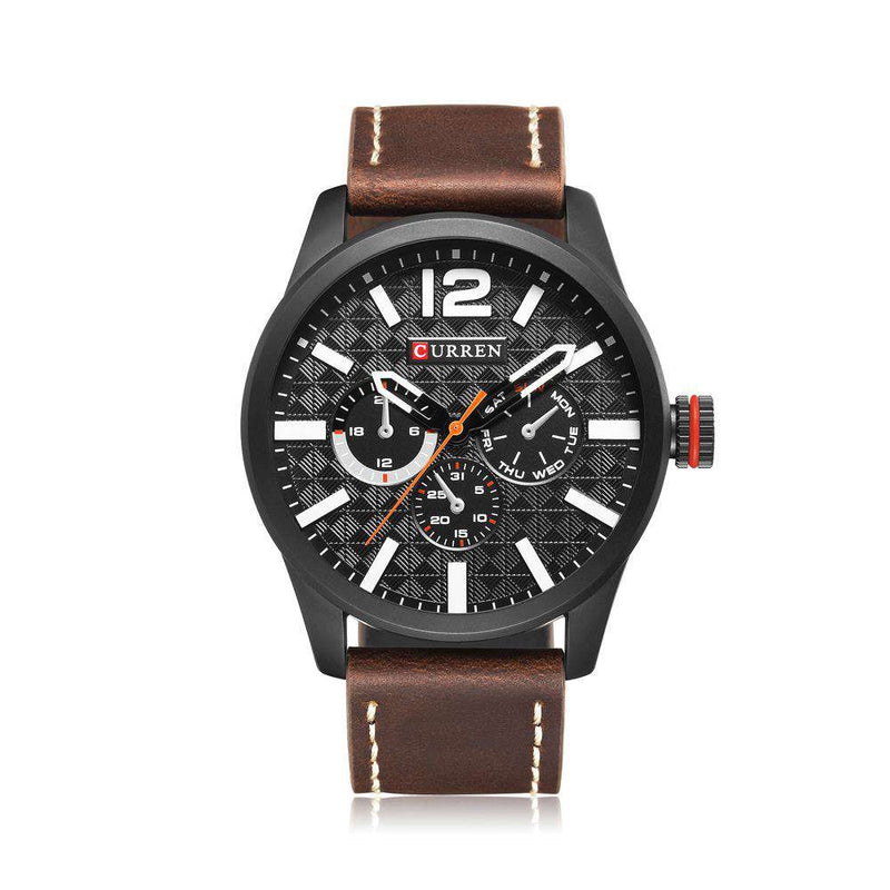 Curren 8247-6-Brown/Black/White Leather Strap Watch