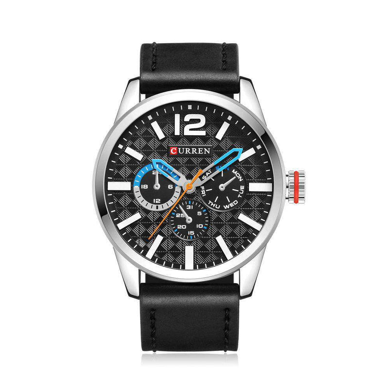 Curren 8247-1-Black/Silver/Blue Leather Strap Watch