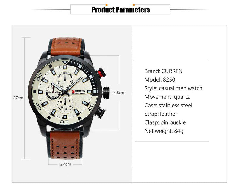 Curren 8250-3-Brown/Black/White Leather Strap Watch
