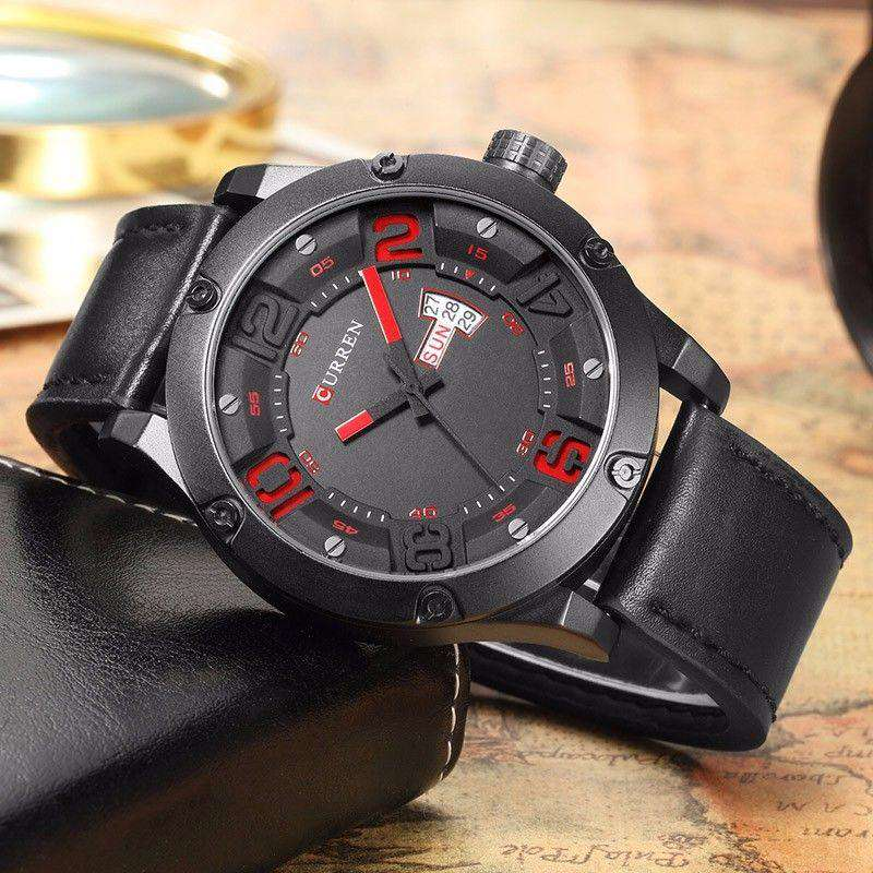 Curren 8251D-3-Black/Black/Red Leather Strap Watch
