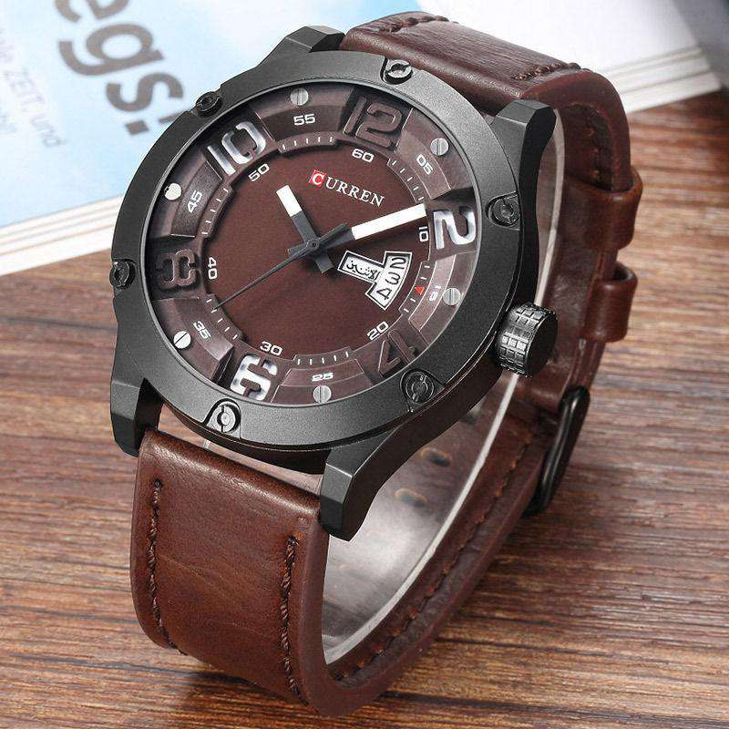 Curren 8251D-4-Brown/Black/Brown Leather Strap Watch
