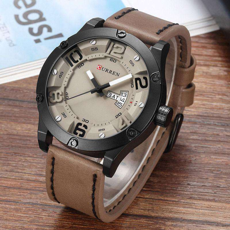 Curren 8251D-2-Brown/Black/Grey Leather Strap Watch