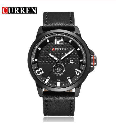 Curren 8253D-2-Black/Black/White Leather Strap Watch
