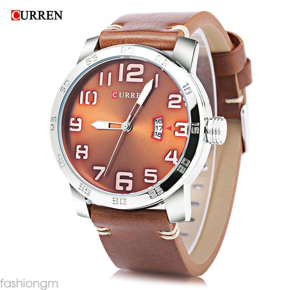 Curren 8254D-2-Brown/Silver/Brown Leather Strap Watch