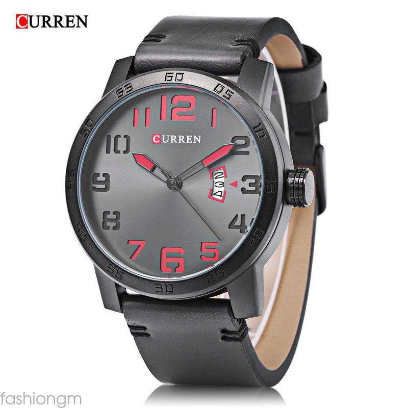 Curren 8254D-3-Grey/Black/Red Leather Strap Watch