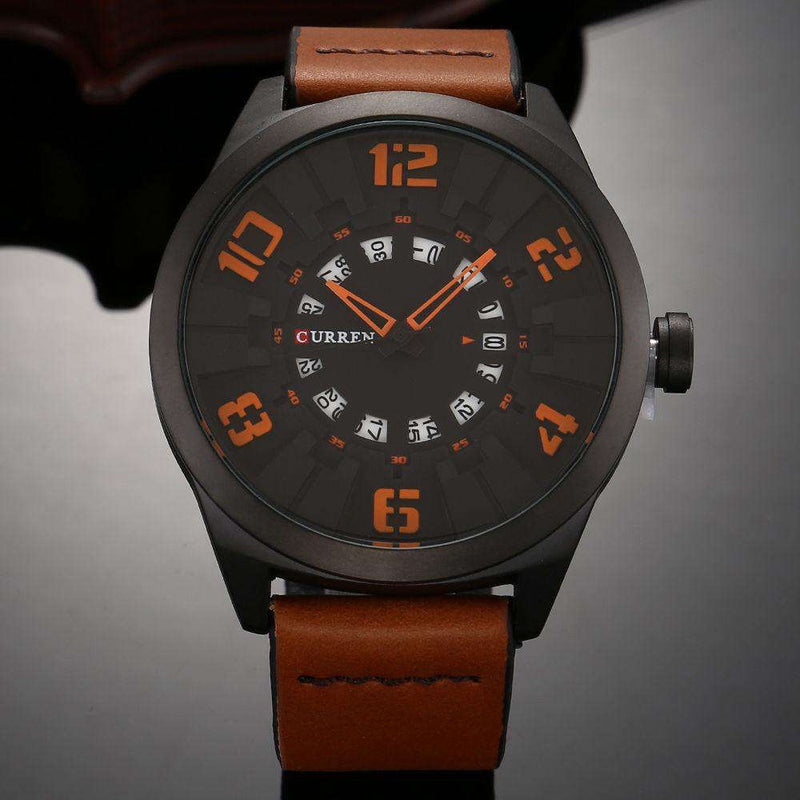 Curren CN8258D-1-Brown/Black/Orange Leather Watch for Men