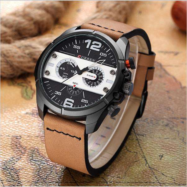 Curren 8259-4-Brown/Black/White Leather Strap Watch