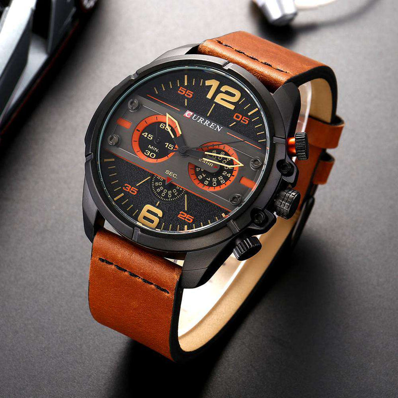 Curren 8259-3-Brown/Black/Black Leather Strap Watch