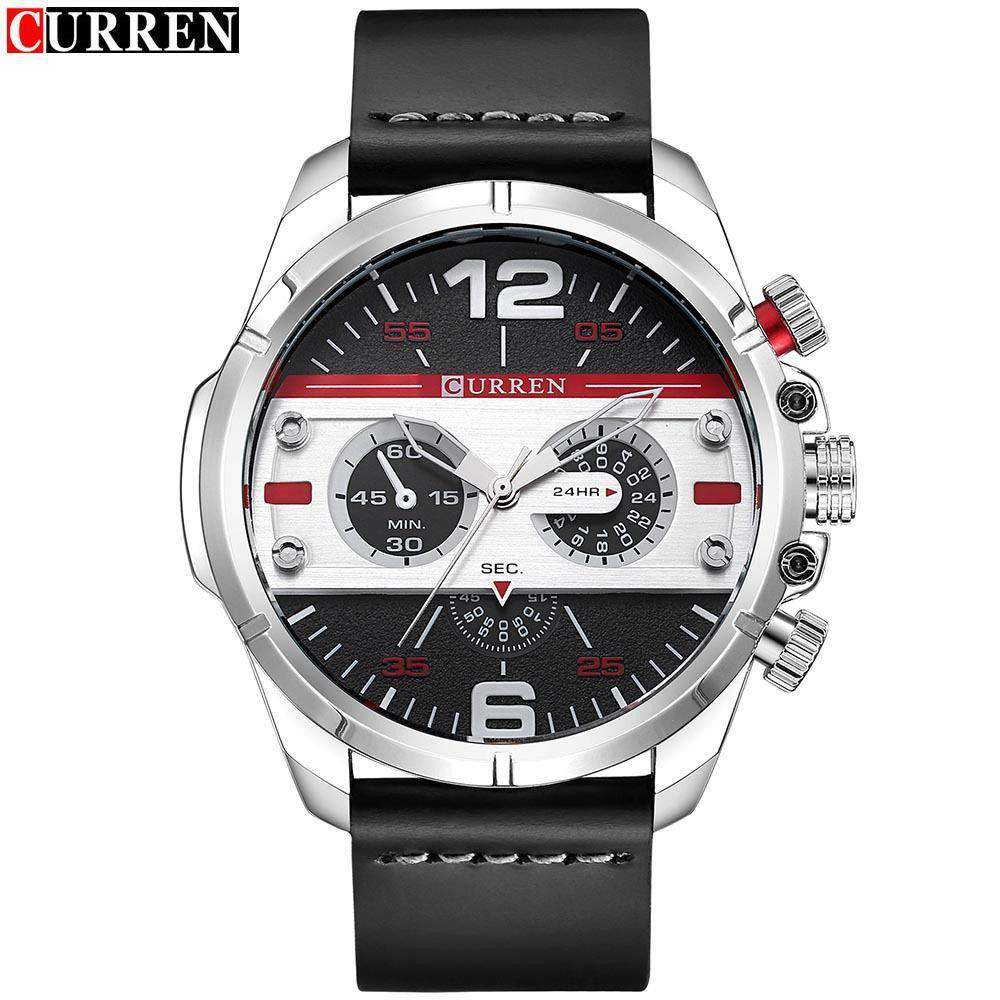 Curren 8259-1-Black/Silver/Red Leather Strap Watch