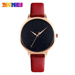 SKMEI 9141 Red Leather Strap Watch for Women