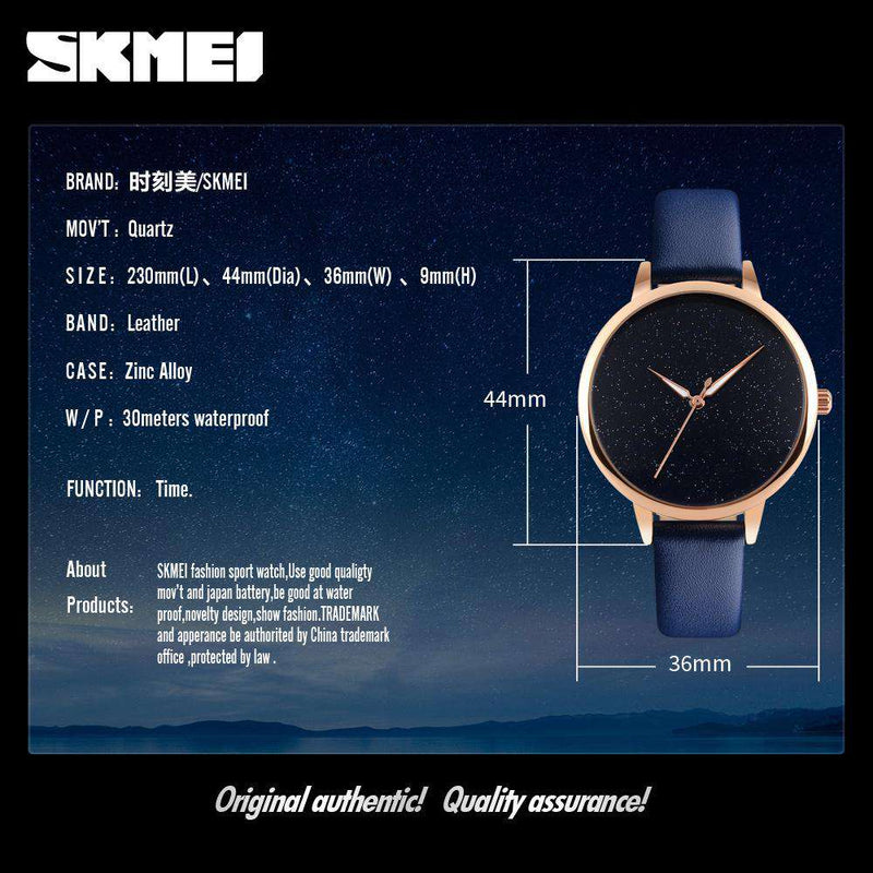 SKMEI 9141 Blue Women's Leather Strap Watch