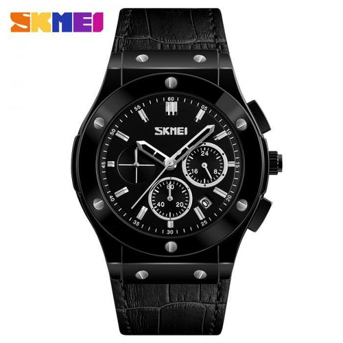 SKMEI 9157 Black Leather Strap Watch for Men - Watchportal Philippines