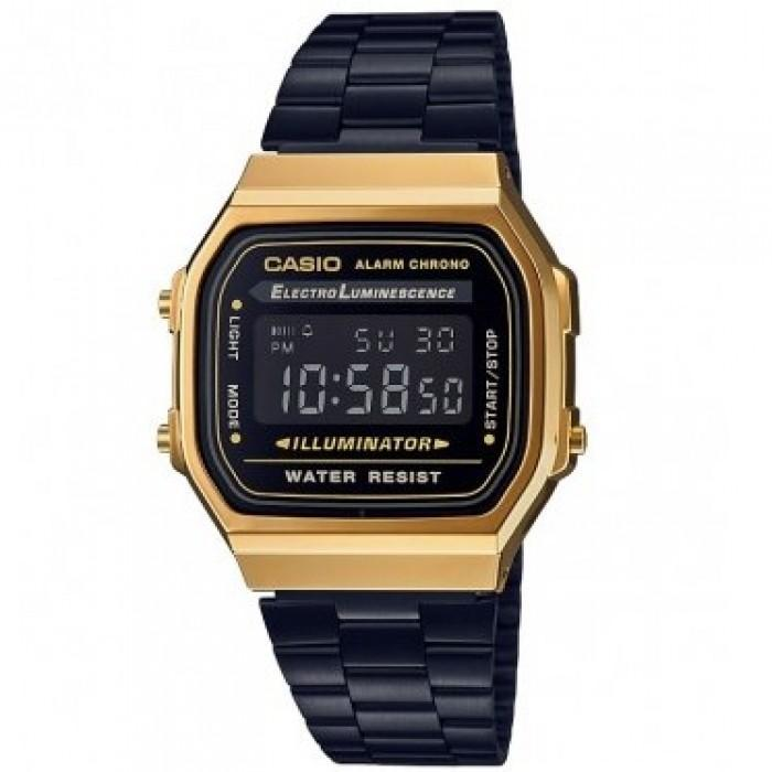 f98d66d5d48 Casio Vintage A168WEGB-1B Black Stainless Steel Watch For Men and Women
