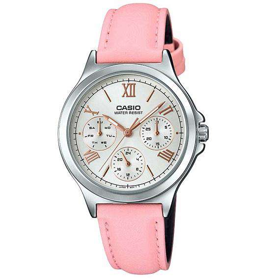 Casio LTP-V300L-4A2UDF Pink Leather Strap Watch for Women