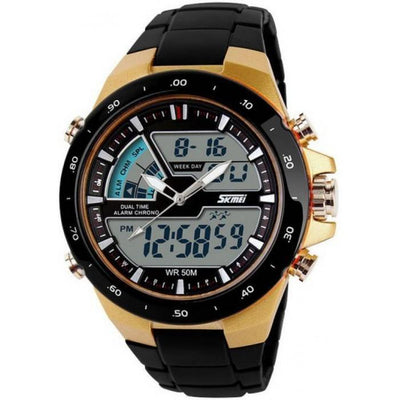 SKMEI AD1016 Gold Case with PU Strap Watch for Men - Watchportal Philippines