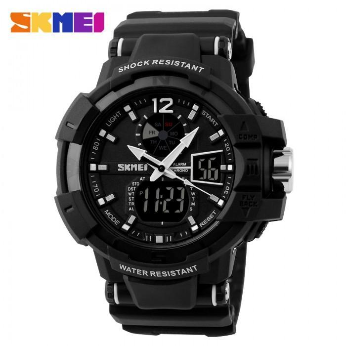 SKMEI AD1040 All Black Rubber Strap Watch for Men - Watchportal Philippines