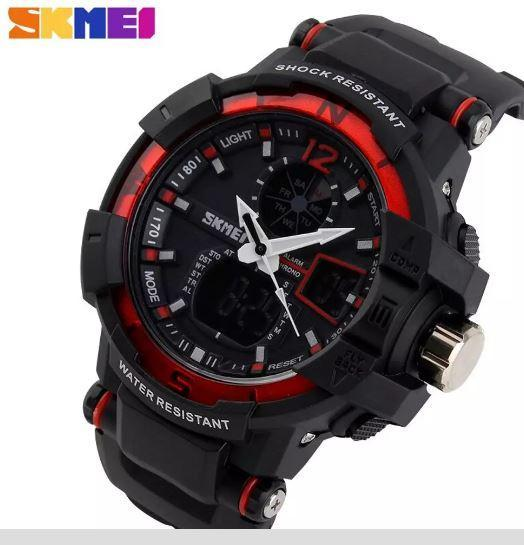SKMEI AD1040 Red with Black Rubber Strap Watch for Men - Watchportal Philippines