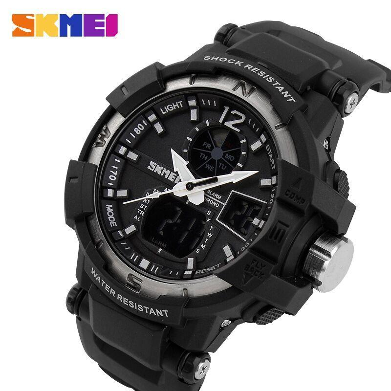 SKMEI AD1040 Silver with Black Rubber Strap Watch for Men - Watchportal Philippines
