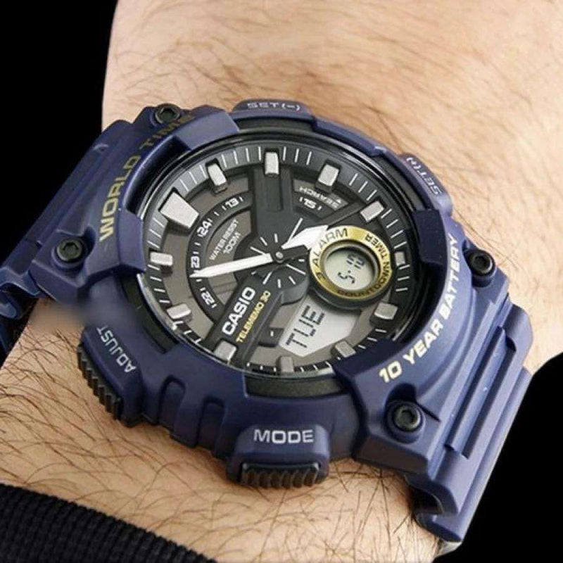 Casio AEQ-110W-2A Navy Blue Resin Strap Watch for Men