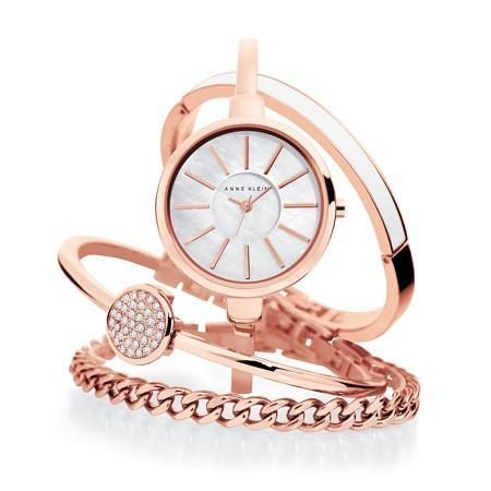 Anne Klein AK-1470RGST Rose Gold Bangle and Bracelet Set Watch for Women - Watchportal Philippines
