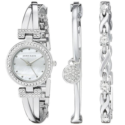 Anne Klein AK-1869SVST Silver-Tone Bangle and Bracelet Set for Women - Watchportal Philippines