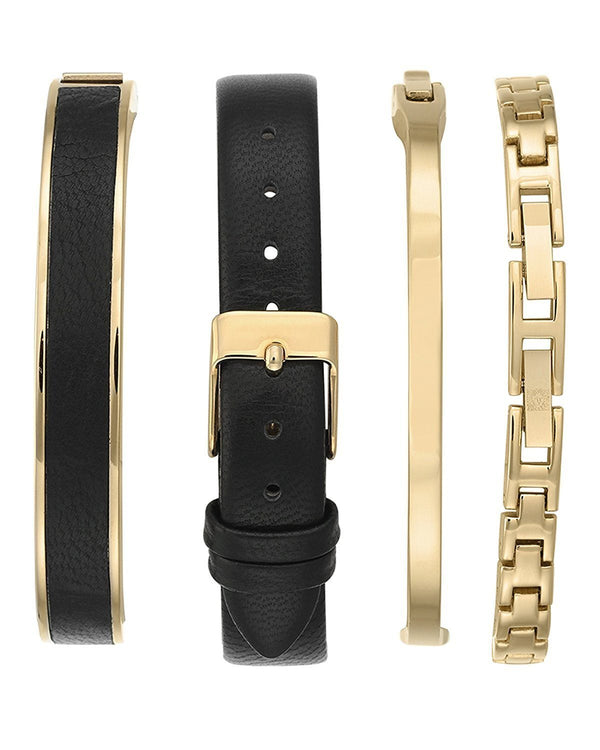 Anne Klein AK-2684BKST Diamond-Accented Gold-Tone & Black Leather Strap Set Watch for Women - Watchportal Philippines
